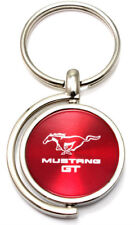 Red Ford Mustang GT Logo Brushed Metal Round Spinner Chrome Key Chain Spin Ring