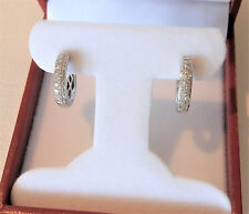Designer Hoop Diamond Earrings High End .57 tcw 14K White Gold Huggie