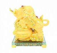 Golden Ox Statue Stepping on Treasure Pot for Chinese Lunar Year of the Ox 2021