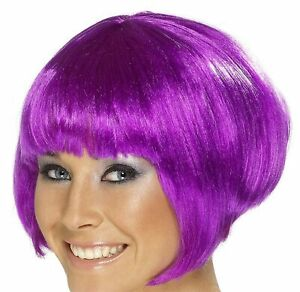 Adult Glamour Babe Short Ear Length Straight Hair Neon Purple Womens Costume Wig