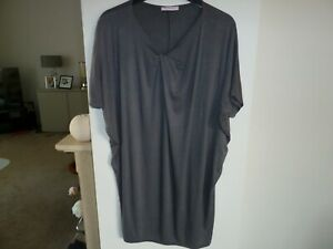 """MY STORY MADE IN ITALY LAGENLOOK GREY TUNIC TOP SIZE L BUST 62""""HEM WIDTH 44"""" VGC"""