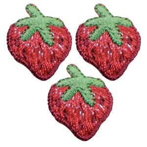 """Mini Strawberry Applique Patch - Berry, Fruit Badge 1"""" (3-Pack, Iron on)"""