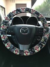 Sugar Skull Dia De Los Muertos Day of The Dead Steering Wheel Cover (new)