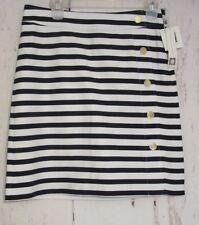 NWT $89 Anne Klein White/Midnight Stripe Aline Skirt Gold Button Detail Nautical