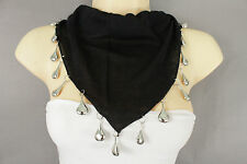 New Women Scarf Fashion Necklace Black Short Fabric Neck Silver Drop Bead Charms