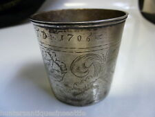 "early 18th century Silver Beaker dated  "" 1706 "" Great floral engraving"