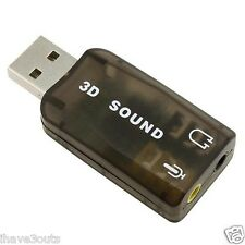 External USB Powered 5.1 3D Audio Sound Card Speakers Output Microphone Input