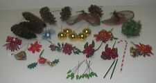 Lot Craft Floral Decor Pick Christmas Holiday Pine Cone/ball Holly Berry/ribbon