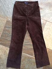 Ralph Lauren Suede Trousers - Ladies Brown - Festival/Boho/Rocker/Rodeo- Size 10