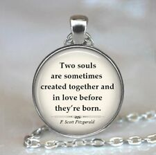 Two Souls Photo Tibet Silver Cabochon Glass Pendant Necklace Jewelry