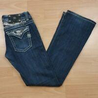 Miss Me Women's Boot Cut Jeans Size 27 Flap Pocket Dark Wash w/ Rhinestones