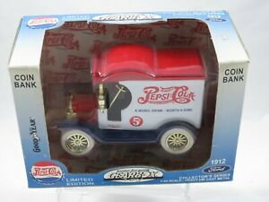 Pepsi Cola 1912 Ford Delivery Truck Coin Bank Die Cast Gearbox MINT! NRFB