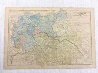 1877 Antik Map Of Österreich Preußen Deutsche Reich Hand Farbig 19th Jahrhundert