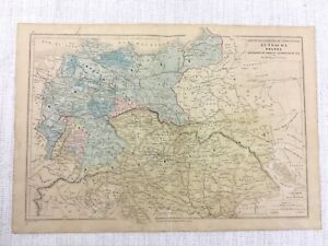 1877 Antique Map of Austria Prussia German Empire Hand Coloured 19th Century