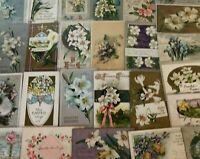 Pretty~Lot of 25 Easter Holiday~Vintage~Postcards with Flowers~in Sleeves--s-986