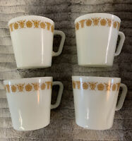 Set of 4 Vintage Pyrex Corning Coffee Cups Mugs Butterfly Gold D Handle #1410 B6