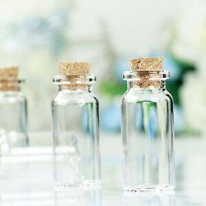 6 Mini Clear Glass Bottles Pendant Charm Cork Jars Craft Fairy dust empty  xmas