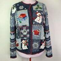 Heirloom Collectibles Ugly Christmas Sweater Women's Cardigan Blue Snowman Sz M