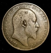 1906 Uk Great Britain British One 1 Penny Edward Vii Coin Km 794 6/4