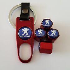 Peugeot Wheel Valve Dust caps Alloy Spanner Keychain Boxed red all models 106