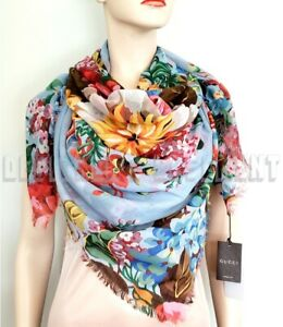 """GUCCI sky blue JOSEPHINE Floral 47"""" SHAWL 100% wool Pashmina scarf NWT Auth $395"""