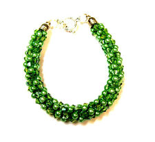 1 Bracelet with Green Beads & Crystals  Made with Kumihimo