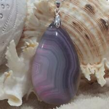 5.7cm Pink Agate Water Drop Necklace Gemstone Pendant One of a Kind 9847