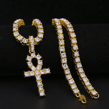 5MM Miami Cuban Curb Gold Chain Necklace Cross Pendant Hip Hop Mens Jewelry