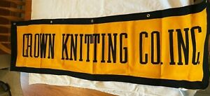 """Vintage Crown Knitting Mills Factory Felt Banner from Mohrsville, PA 52"""" x 14.5"""""""