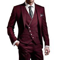 Men Burgundy Slim Fit Suit Formal Tuxedos Groom Wedding Party Dinner Prom Suit
