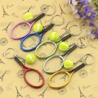 CO_ portative Tennis Ball Racket Charm Pendant Unisex Sports Car Key Ring Keycha