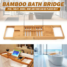 Extendable Bamboo Bath Shelf Caddy Wine Glass Holder Tray Bathtub Rack Storage