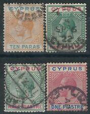 n138) Cyprus. Used. 1934 SG 74b,75,75a,77. Royalty