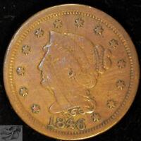 1846 Medium Date Braided Hair Large Cent, Fine Details, Obverse Scratches, C4986