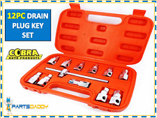 12 Piece Drain Plug Key Socket Set Sump Oil Axle Sockets Tool Car Garage 15-8