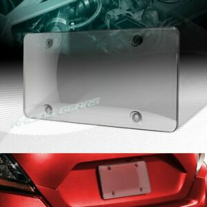 1 X SMOKE TINTED BUBBLE SHIELD PROTECTOR LICENSE PLATE FRAME COVER FRONT/REAR