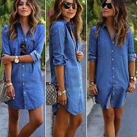 Damen Denim Kleid Longshirt Langarm Bluse Sommer Hemdkleid Tunika Minikleid Tops