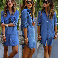 Womens Long Sleeve Blue Demin Shirt Dress Button Down Polo Tee Shirt Top Blouse