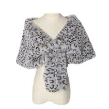 Women's New Fluffy Leopard Plain Faux Fur Wedding Shrug Stole Shawl