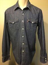 Levis Denim Shirt LVC Blue Jean Cowboy Work Shirt Pearl Snap Western Mens Large