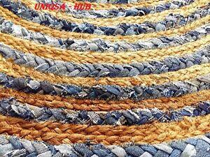 Rug Jute & denim natural carpet 180x180cm round reversible home living decor Rug
