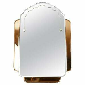 RARE 1930's ART DECO AMBER/PEACH GLASS BEVELLED WALL MIRROR HEAVILY DECORATED