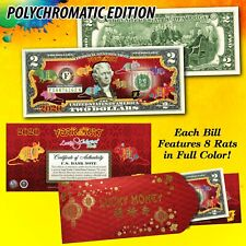 2020 CNY Chinese New YEAR OF THE RAT Polychromatic 8 COLOR Rats $2 U.S. Bill RED