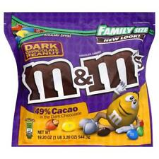 NEW SEALED FAMILY SIZE DARK CHOCOLATE PEANUT M&M'S CANDIES 49% CACAO 19.2 OZ