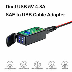 Motorcycle Dual USB Charger Waterproof SAE to USB Cable Adapter Phone GPS Tablet