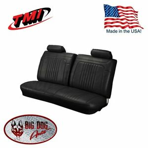 1971-1972 Chevelle, El Camino Black Bench Seat Upholstery w / Headrest, by TMI