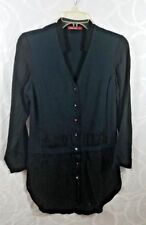 Barbara Lesser Tunic Top Size Small Blue on top Black sheer bottom & sleeves
