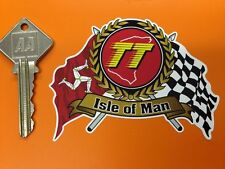 Isle Of Man Tt Races Flag & Garland Scroll Sticker Self Adhesive Vinyl