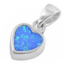 Blue, White, & Green Australian FIRE Opal Heart .925 Sterling Silver Pendant