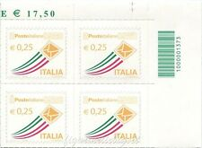 2013 quartina Posta Ordinaria da € 0,25 CODICE A BARRE 1373